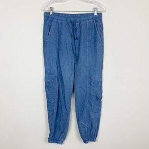 Anthropologie | chambray tapered drawstring pants